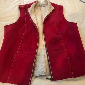 Pink Suede Vest w/ Faux Fur Lining